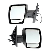 Power Mirror, Driver and Passenger Side, SL/SV Models, Manual Folding, Heated, w/o Signal, Textured Black
