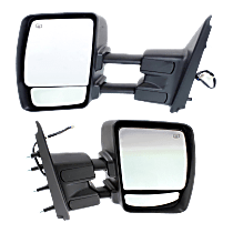 Power Mirror, Driver and Passenger Side, Manual Folding, Towing, Heated, w/o Signal, Chrome