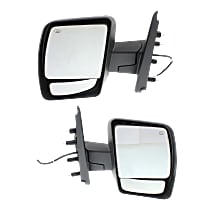 Power Mirror, Driver and Passenger Side, SL/SV Models, Manual Folding, Heated, w/o Signal, Chrome