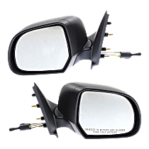 Mirror - Driver and Passenger Side (Pair), Manual Remote, Folding, Textured Black, For Sedan