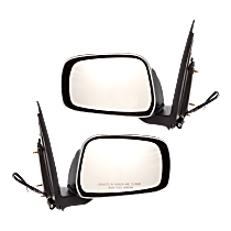 Mirror - Driver and Passenger Side (Pair), Power, Chrome, Black Base, For Extended Cab