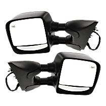 Mirror - Driver and Passenger Side (Pair), Towing, Power, Heated, Folding, Textured Black, For Towing Package
