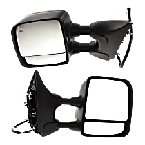 Mirror - Driver and Passenger Side (Pair), Towing, Power, Heated, Folding, Textured Black, With Memory, For Towing Package