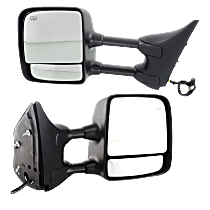 Mirror - Driver and Passenger Side Pair, Towing, Power, Heated, Folding, Chrome, With Memory, Black Base, For Towing Package
