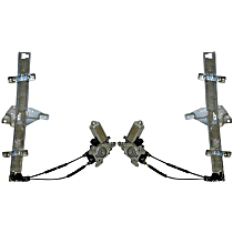 Front, Driver and Passenger Side Power Window Regulator, With Motor - Sedan