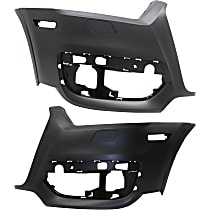 Bumper Cover - Front, Driver and Passenger Side, 2 Pieces, Primed, For Models Without Parking Aid Sensors and Parallel Park Assist