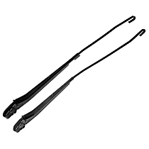 Wiper Arm - Front, Driver and Passenger Side, Black, Steel, Direct Fit, Set of 2