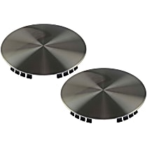 SET-RB909005-2 Hub Cap - Brushed Aluminum, Plastic, Direct Fit, Set of 2