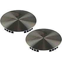 Hub Cap - Brushed Aluminum, Plastic, Direct Fit, Set of 2