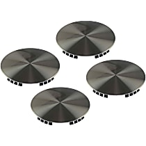 Hub Cap - Brushed Aluminum, Plastic, Direct Fit, Set of 4