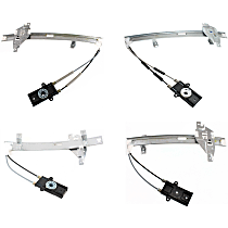 Front and Rear, Driver and Passenger Side Power Window Regulator, Without Motor