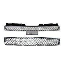 Grille Assembly - Chrome Shell and Insert, with Front Lower Bumper Grille
