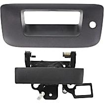 Tailgate Handle Lever and Bezel - Textured Black, With Key Hole, Without Camera Holea