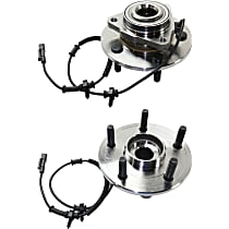 Front, Driver and Passenger Side Wheel Hub With Tapered bearing - Set of 2