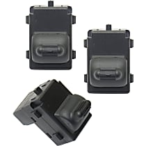 Window Switch - Front Passenger Side, Rear Driver and Passenger Side, Black, 1-Button, Set of 3