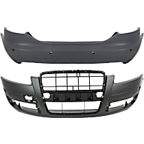 Bumper Cover - Front and Rear, 2 Pieces, Primed, Type 1, For Sedan Models Without Headlight Washers (w/ Parking Aid Sensors), With Tow Hook Hole