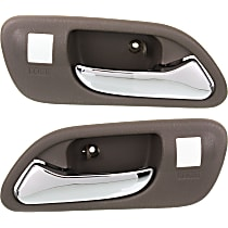 Front, Driver and Passenger Side Interior Door Handle, Beige bezel with chrome lever