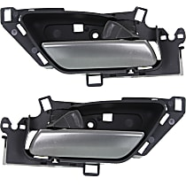 Front or Rear, Driver and Passenger Side Interior Door Handle, Black bezel with chrome lever