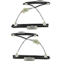 Front, Driver and Passenger Side Power Window Regulator, Without Motor - Coupe