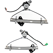 Front, Driver and Passenger Side Power Window Regulator, With Motor - Coupe