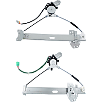 Front, Driver and Passenger Side Power Window Regulator, With Motor