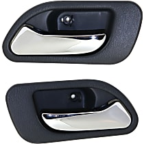 Rear, Driver and Passenger Side Interior Door Handle, Gray bezel with chrome lever