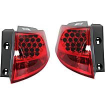 Driver and Passenger Side, Outer Tail Light, Without bulb(s) - Red Lens