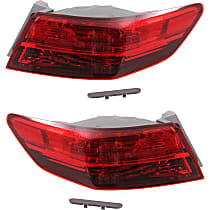 Driver and Passenger Side, Outer Tail Light, With bulb(s) - Clear Lens