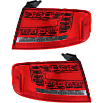 Driver and Passenger Side, Outer Tail Light, With bulb(s) - Clear & Red Lens, Sedan