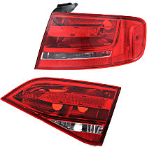 Passenger Side, Inner and Outer Tail Light, Without bulb(s) - Clear & Red Lens, Sedan