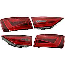 Driver and Passenger Side, Inner and Outer Tail Light, With bulb(s) - Clear & Red Lens, LED Type, Convertible/Sedan