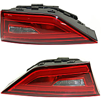 Driver and Passenger Side, Inner Tail Light, With bulb(s) - Clear & Red Lens, LED Type, Convertible/Sedan