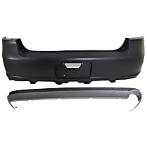 Bumper Cover - Front and Rear, 2 Pieces, Primed Top - Textured Bottom, For Models With Lower Cover, Without Rear Object Sensor