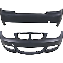 Bumper Cover - Front and Rear, 2 Pieces, Primed, For Models With M Package (w/o Headlight Washers) and Without Park Distance Sensor, With Tow Hook Hole