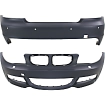 Bumper Cover - Front and Rear, 2 Pieces, Primed, For Models With M Package (With Headlight Washers) and With Park Distance Sensor, With Tow Hook Hole