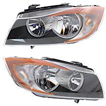 Driver and Passenger Side Halogen Headlight, With bulb(s) - Sedan(E90)/Wagon(E91), CAPA CERTIFIED