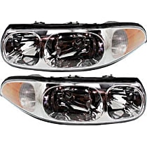 Driver and Passenger Side Halogen Headlight, With Bulb(s) - Custom Model, With Fluted High Beam Surface