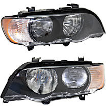 Driver and Passenger Side Halogen Headlight, With bulb(s) - With White Turn Signal