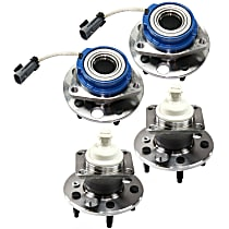 Front and Rear, Driver and Passenger Side Wheel Hub and Bearing Assembly, For FWD Models with 4-Wheel ABS