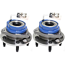 Front, Driver and Passenger Side Wheel Hub and Bearing Assembly, For FWD Models with 4-Wheel ABS and Steel Wire Clip - Bearing Flange Mounting Holes Threaded