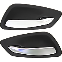 Front or Rear, Driver and Passenger Side Interior Door Handle, Black bezel with silver lever