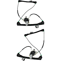 Front, Driver and Passenger Side Power Window Regulator, With Motor, Convertible/Coupe
