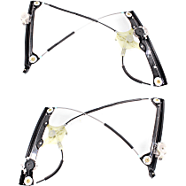 Front, Driver and Passenger Side Power Window Regulator, Without Motor - Convertible