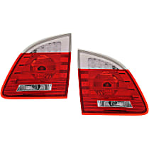 Driver and Passenger Side, Inner Tail Light, With bulb(s) - Clear & Red Lens, Wagon