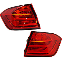 Driver and Passenger Side, Outer Tail Light, Without bulb(s) - Red Lens, Sedan