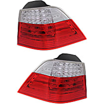 Driver and Passenger Side, Outer Tail Light, With bulb(s) - Clear & Red Lens, Wagon