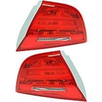 Driver and Passenger Side, Inner Tail Light, With bulb(s) - Red Lens, Sedan