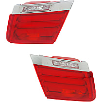 Driver and Passenger Side, Inner Tail Light, Without bulb(s) - Clear & Red Lens