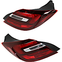 Driver and Passenger Side, Outer Tail Light, With bulb(s) - Clear & Red Lens, w/o Chrome Trim