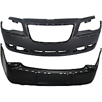 Bumper Cover - Front and Rear, 2 Pieces, Primed, For Models With Adaptive Cruise Control, Without Parking Aid Sensors